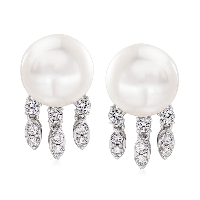 11-11.5mm Cultured Pearl and .66 ct. t.w. Diamond Drop Earrings in 14kt White Gold