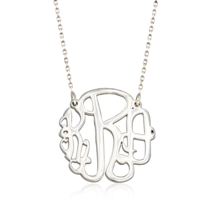 Sterling Silver Small Open Script Monogram Necklace