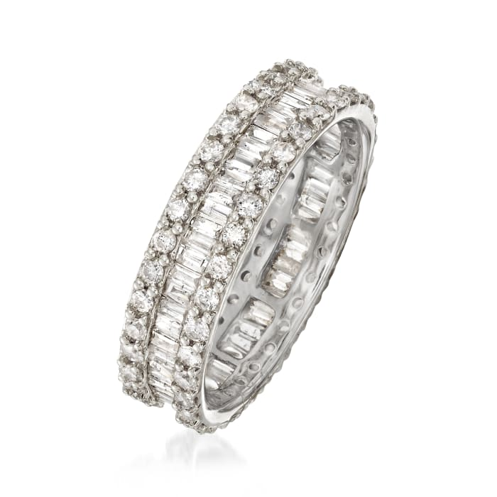 1.50 ct. t.w. Brilliant and Baguette-Cut Diamond Eternity Band in 14kt White Gold with Rhodium