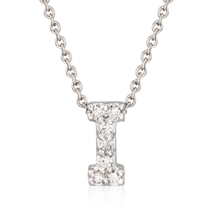 """Roberto Coin """"Love Letter"""" Diamond Accent Initial """"I"""" Necklace in 18kt White Gold"""
