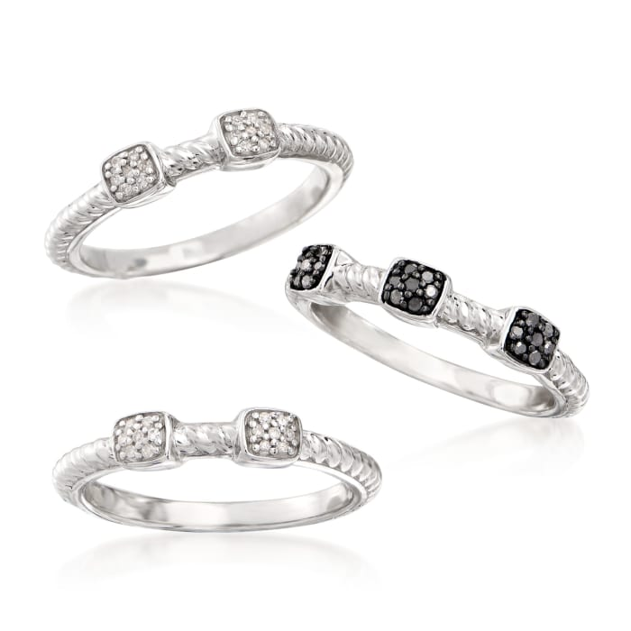 .19 ct. t.w. Black and White Diamond Jewelry Set: Three Rings in Sterling Silver