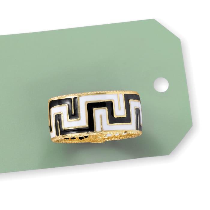 Italian Black and White Enamel Greek Key Ring in 14kt Yellow Gold