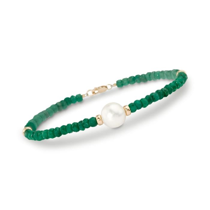 26.00 ct. t.w. Beaded Emerald Bracelet with 10mm Cultured Pearl in 14kt Yellow Gold