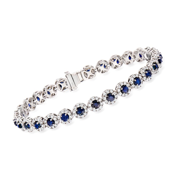 5.50 ct. t.w. Sapphire and 3.00 ct. t.w. Diamond Tennis Bracelet in 14kt White Gold