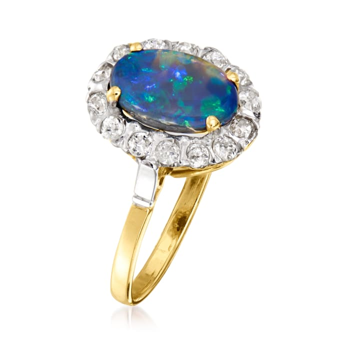 C. 1950 Vintage Opal and .35 ct. t.w. Diamond Ring in 18kt Yellow Gold