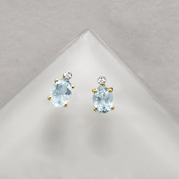 1.30 ct. t.w. Aquamarine Earrings with Diamond Accents in 14kt Yellow Gold