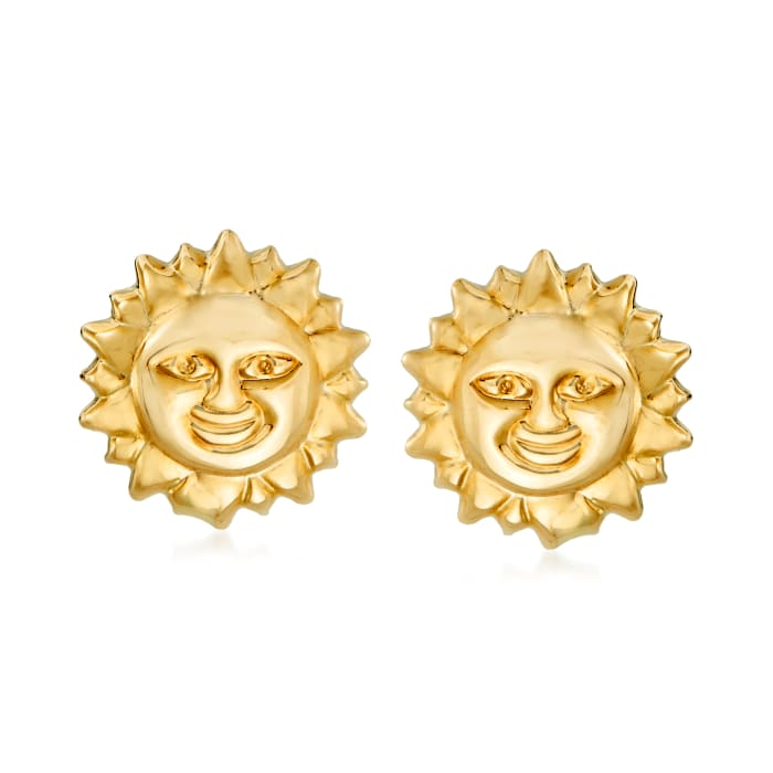 14kt Yellow Gold Sun Earrings