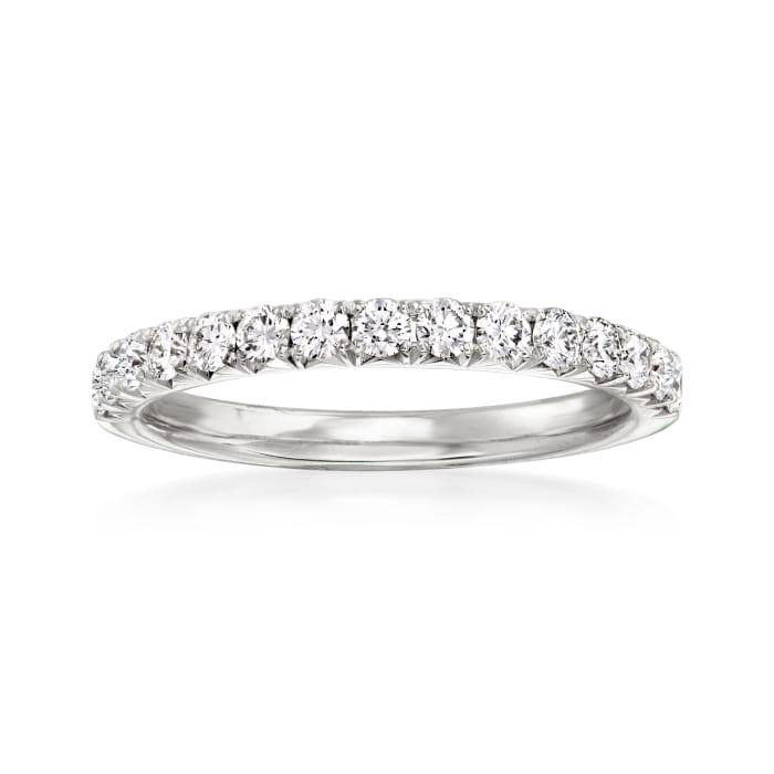 Henri Daussi .45 ct. t.w. Pave Diamond Wedding Ring in 18kt White Gold