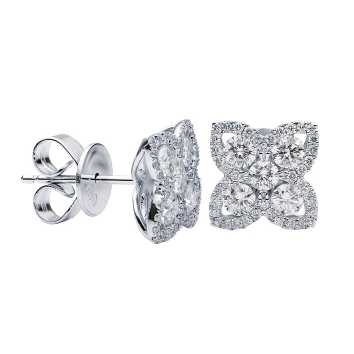 .95 ct. t.w. Diamond Flower Earrings in 18kt White Gold
