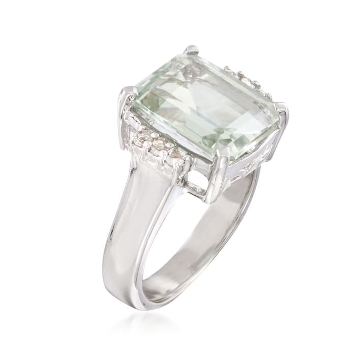 5.00 Carat Prasiolite and .10 ct. t.w. White Topaz Ring in Sterling Silver