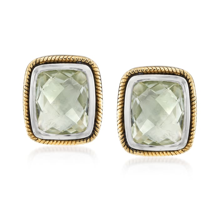 4.80 ct. t.w. Prasiolite Earrings in Sterling Silver and 14kt Yellow Gold