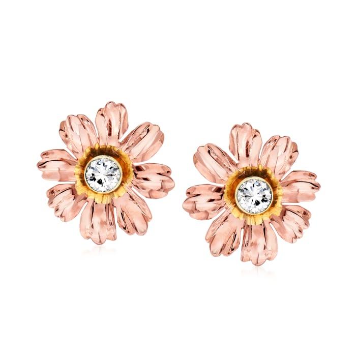 C. 1960 Vintage .77 ct. t.w. Diamond Flower Earrings in 14kt Two-Tone Gold