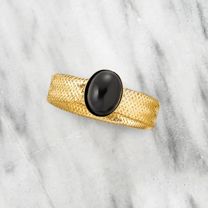 Italian Black Onyx Mesh Stretch Ring in 14kt Yellow Gold