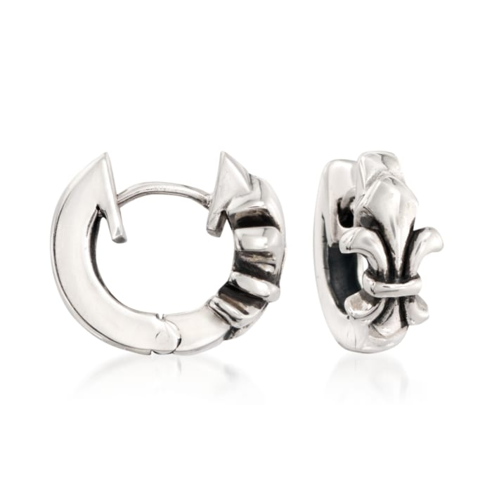 "Zina Sterling Silver ""Fleur De Lis"" Huggie Hoop Earrings"