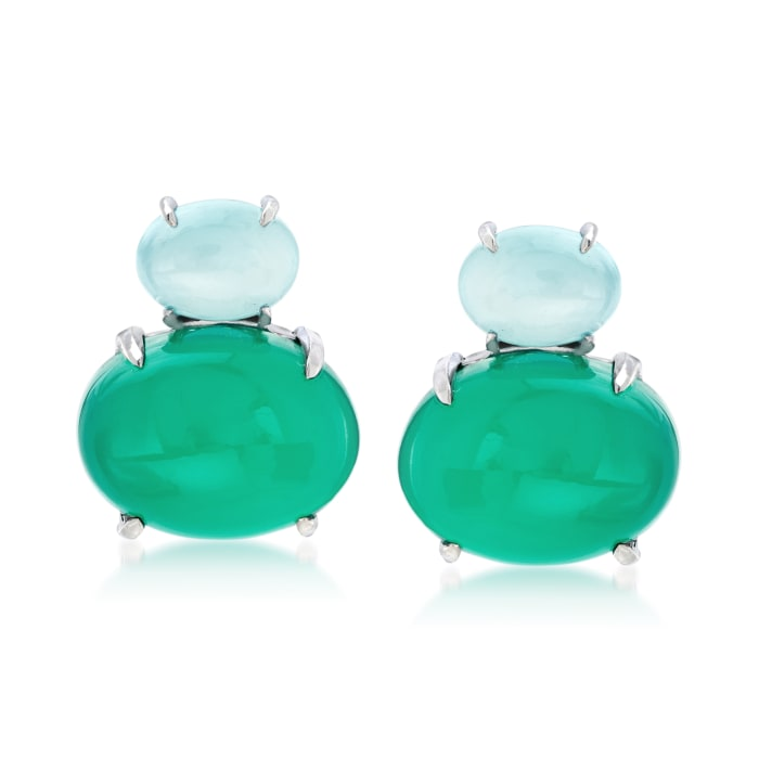 Aqua Blue and Green Chalcedony Drop Earrings in Sterling Silver