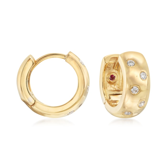 Roberto Coin .14 ct. t.w. Diamond Huggie Hoop Earrings in 18kt Yellow Gold