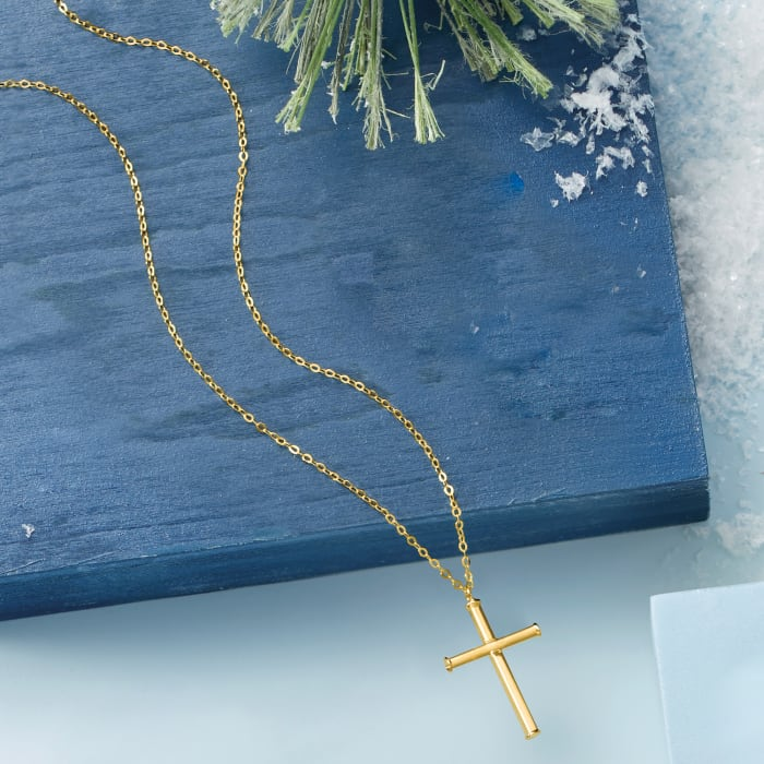 Italian 14kt Yellow Gold Cross Necklace