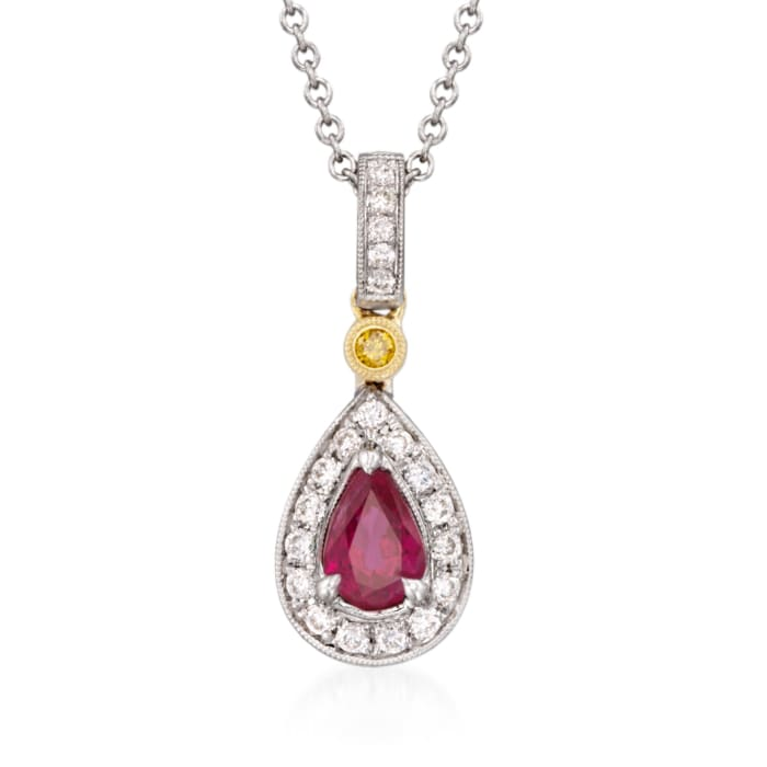 .50 Carat Ruby and .16 ct. t.w. Yellow and White Diamond Pendant Necklace in 18kt Two-Tone Gold