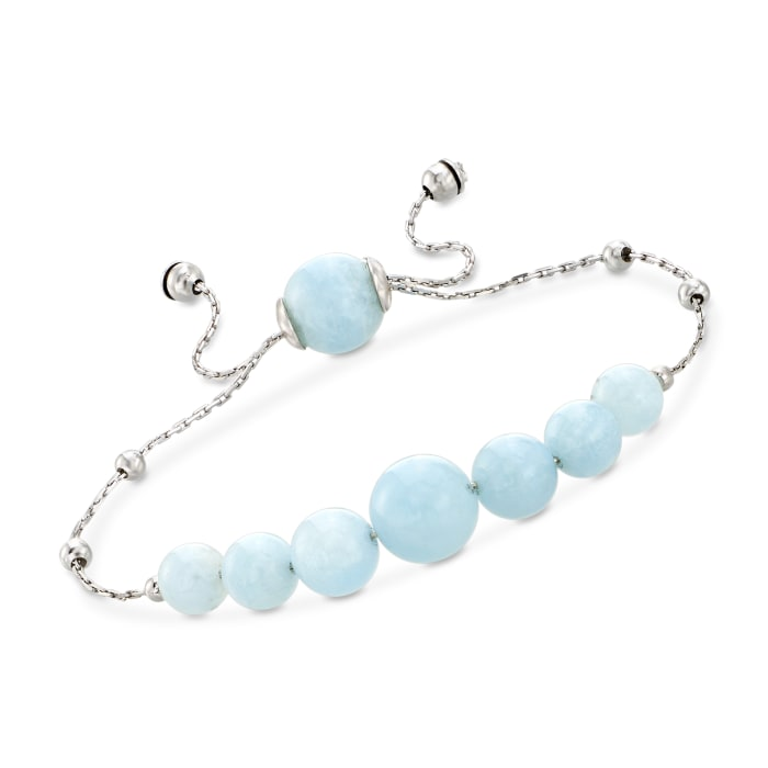 28.45 ct. t.w. Graduated Aquamarine Bead Bolo Bracelet in Sterling Silver