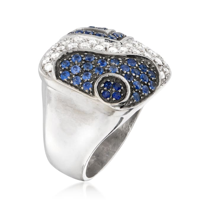 C. 1990 Vintage 1.50 ct. t.w. Sapphire and .60 ct. t.w. Diamond Fashion Ring in 18kt White Gold