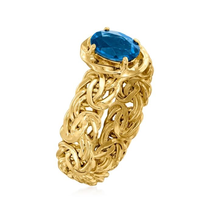.90 Carat London Blue Topaz Byzantine Ring in 14kt Yellow Gold