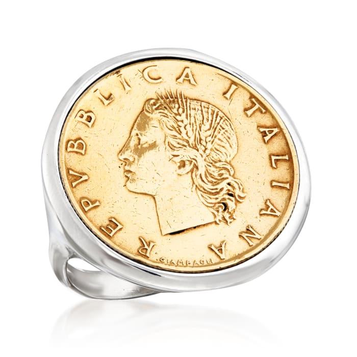 Italian Genuine 20-Lira Coin Ring in Sterling Silver