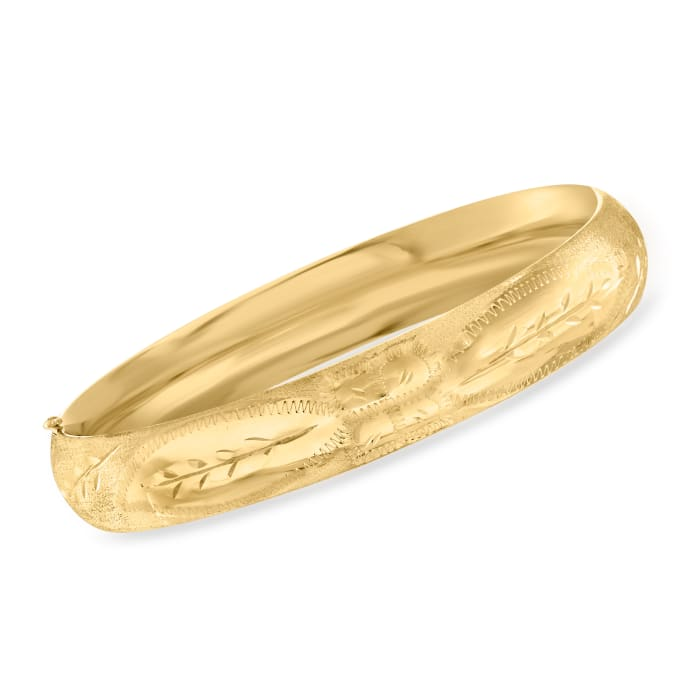 14kt Yellow Gold Engraved Bangle Bracelet