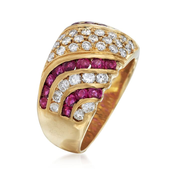 C. 1980 Vintage 1.10 ct. t.w. Ruby and 1.10 ct. t.w. Diamond Wide Ring in 18kt Yellow Gold