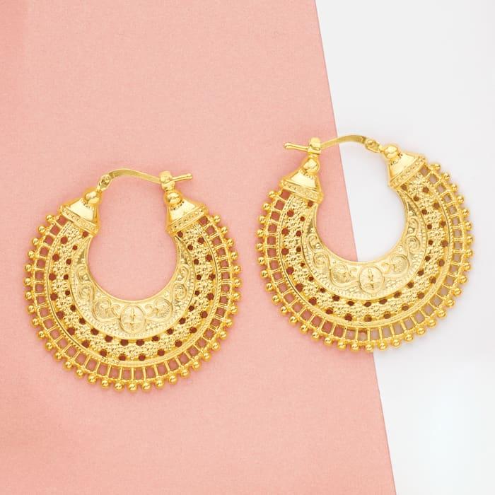 Italian 18kt Gold Over Sterling Embellished Hoop Earrings
