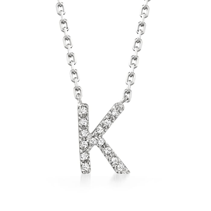 Diamond-Accented Initial Necklace in Sterling Silver