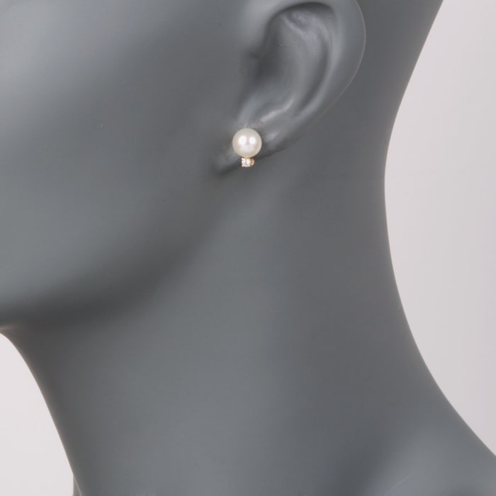 7-7.5mm Cultured Akoya Pearl and .10 ct. t.w. Diamond Accent Earrings in 14kt Yellow Gold