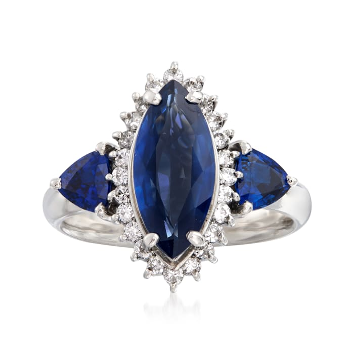 C. 1990 Vintage 3.16 ct. t.w. Sapphire and .33 ct. t.w. Diamond Marquise Ring in Platinum