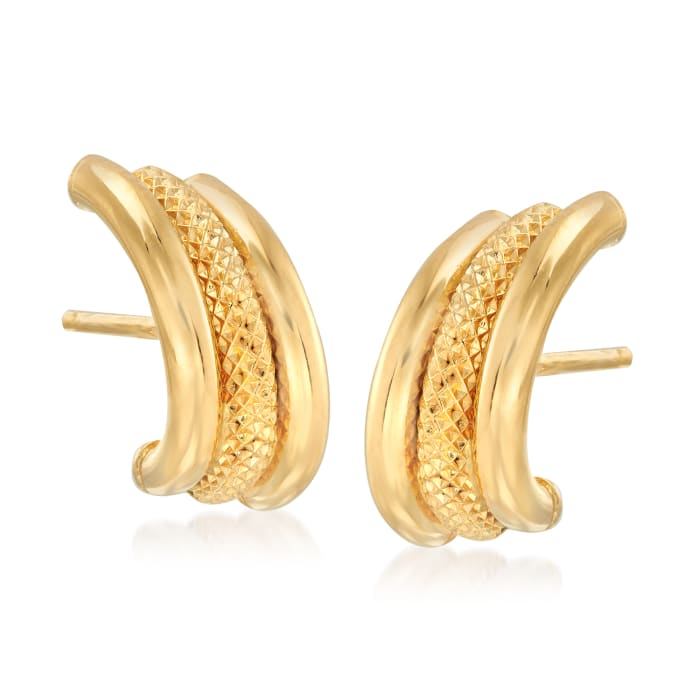Italian 18kt Yellow Gold Triple-Row Earrings