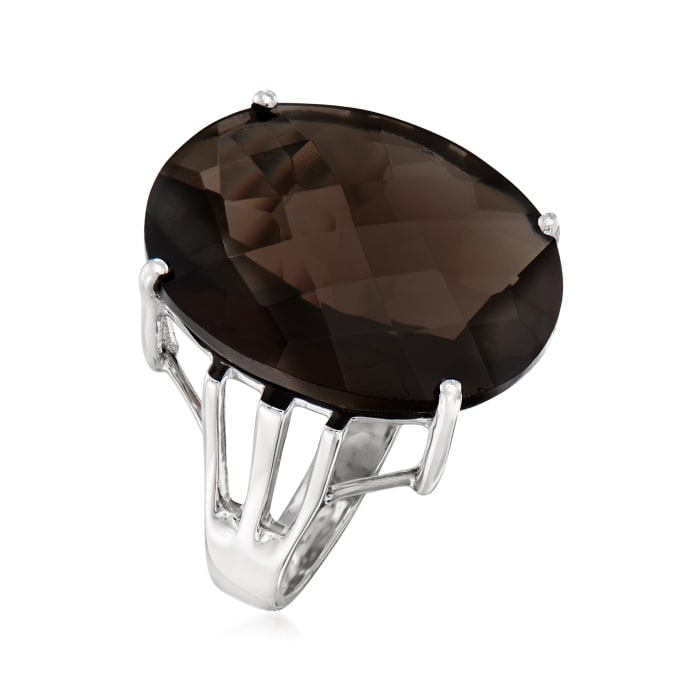 15.00 Carat Smoky Quartz Cocktail Ring in Sterling Silver