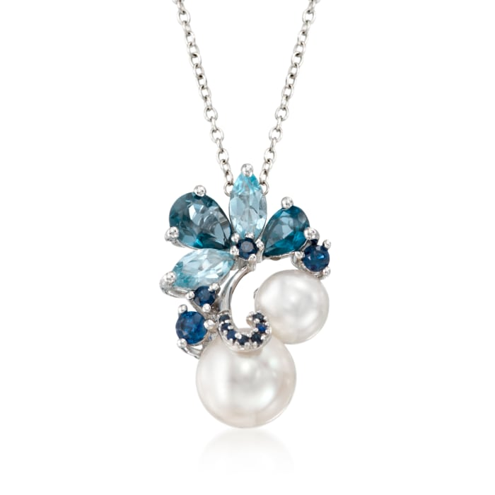 7-9.5mm Cultured Pearl and 1.80 ct. t.w. Blue Topaz Pendant Necklace with .10 ct. t.w. Sapphires in Sterling Silver