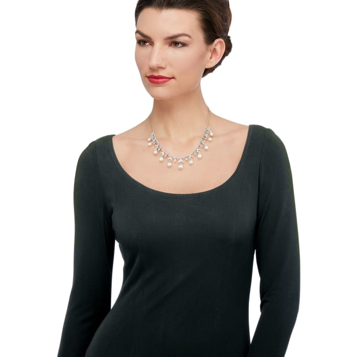 6-9mm Cultured Pearl and .20 ct. t.w. Diamond Necklace in Sterling Silver 18-inch