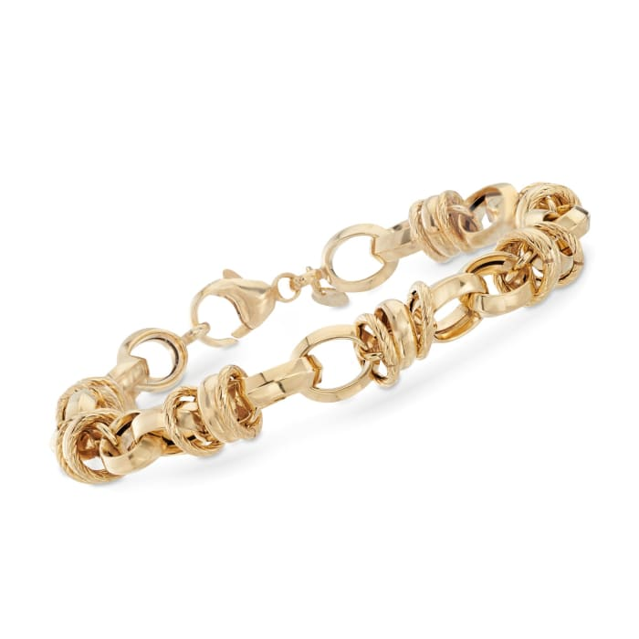 Italian 14kt Yellow Gold Round Link Bracelet