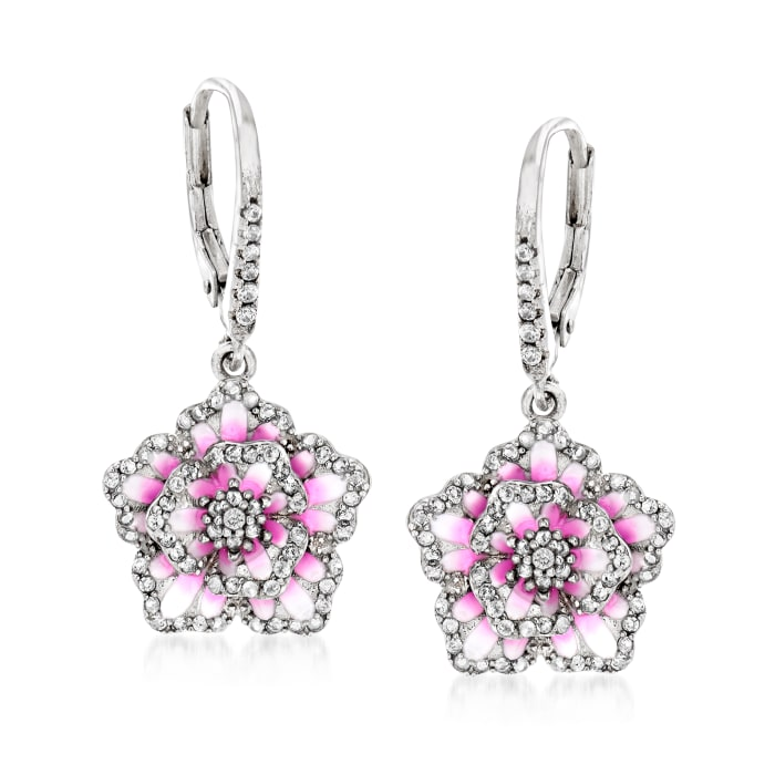 .80 ct. t.w. White Topaz and Multicolored Enamel Floral Drop Earrings in Sterling Silver