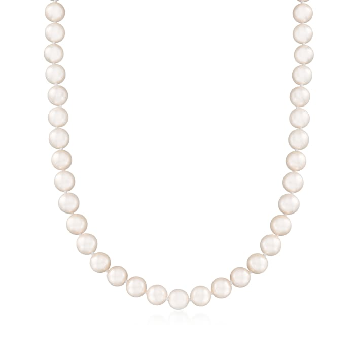 8-8.5mm Cultured Akoya Pearl Necklace in 18kt White Gold