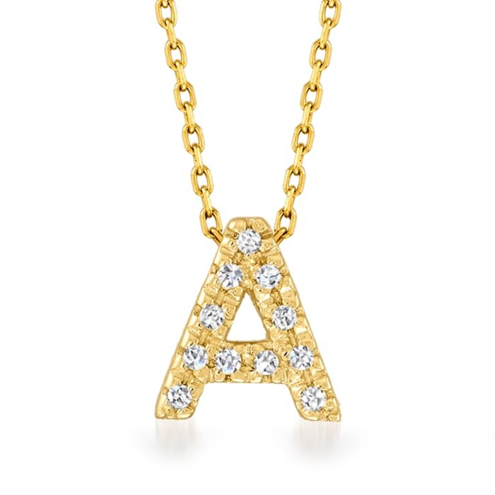 Diamond-Accented Initial Necklace in 14kt Yellow Gold 16-inch  (A)