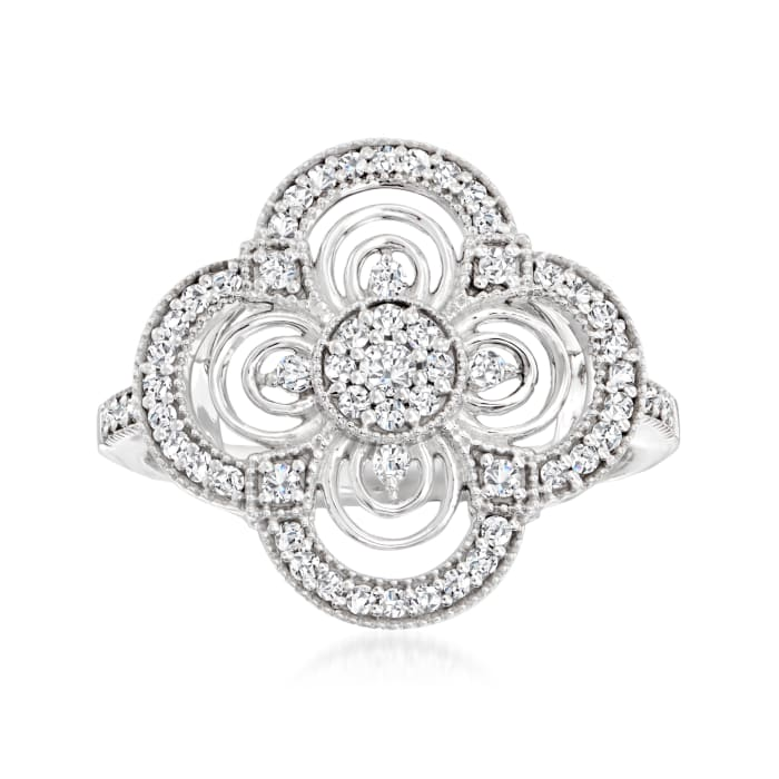 .42 ct. t.w. Diamond Floral Cluster Ring in Sterling Silver