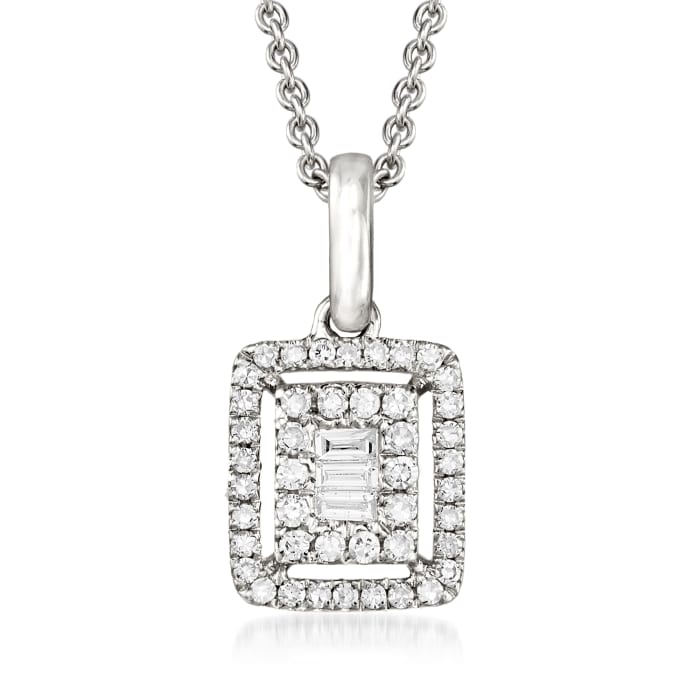.22 ct. t.w. Round and Baguette Diamond Frame Pendant Necklace in 18kt White Gold