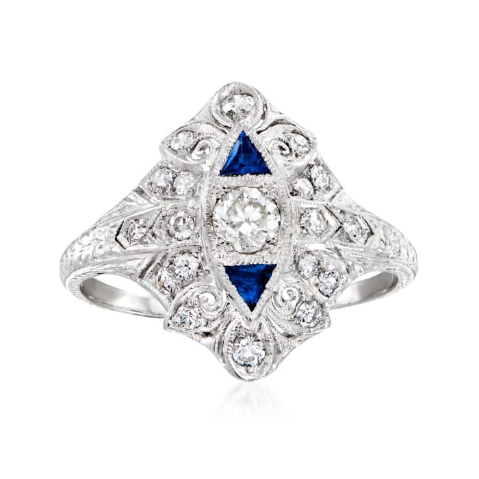 C. 1950 Vintage .65 ct. t.w. Diamond and .25 ct. t.w. Synthetic Sapphire Filigree Ring in Platinum