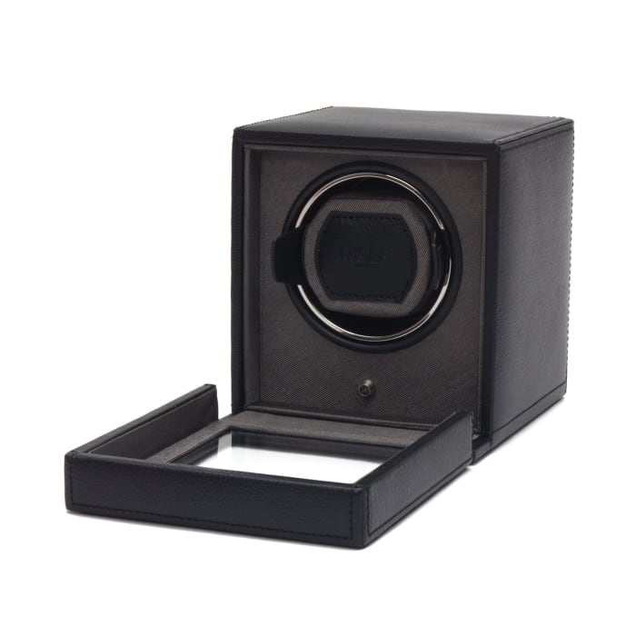 """Cub Winder"" Black Single Watch Winder with Cover by Wolf Designs"