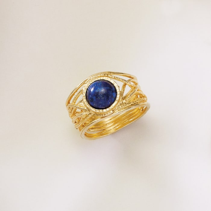 Lapis Textured Openwork Ring in 18kt Gold Over Sterling
