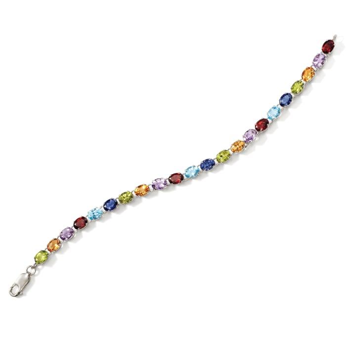 16.00 ct. t.w. Multi-Stone Link Bracelet in Sterling Silver