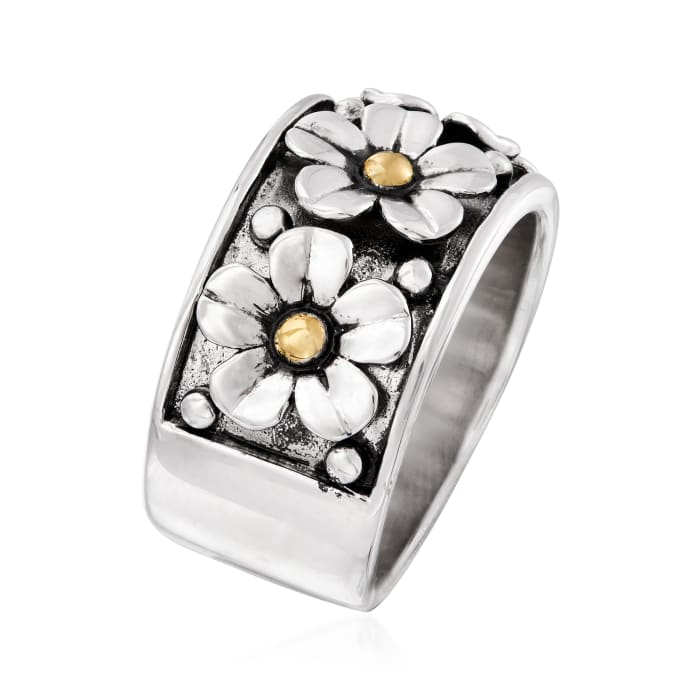 Sterling Silver Multi-Flower Ring with 14kt Yellow Gold