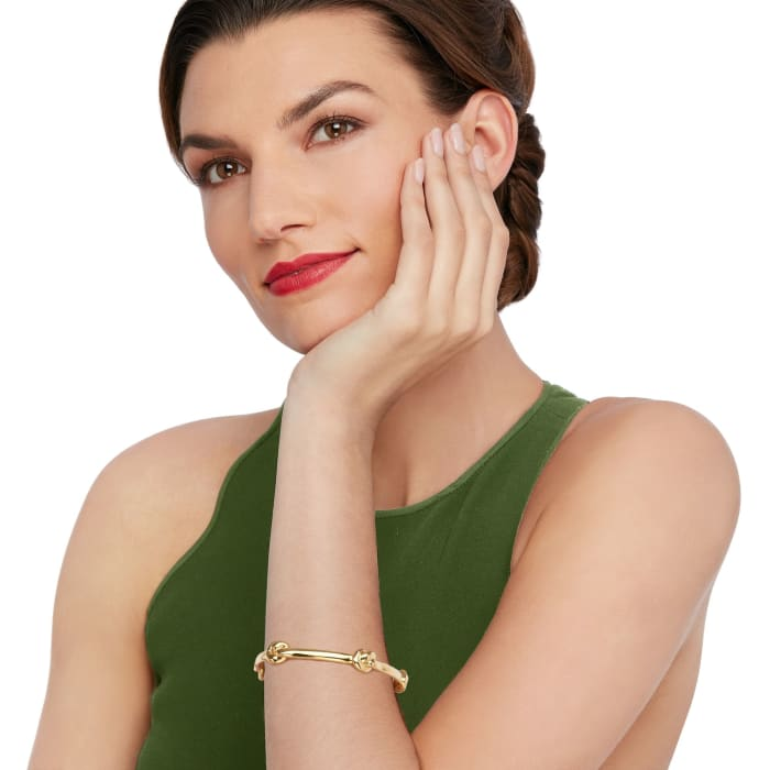 Italian Andiamo 14kt Yellow Gold Over Resin Knot Station Bangle Bracelet