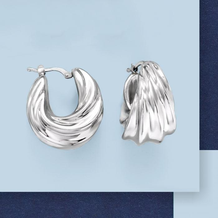 Italian Sterling Silver Pleated Twist Hoop Earrings