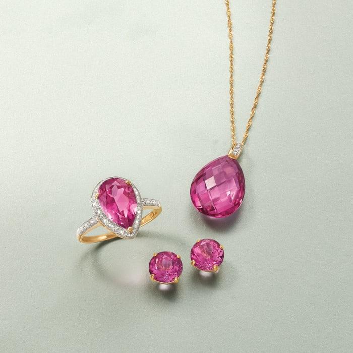 4.50 ct. t.w. Pink Topaz Stud Earrings in 14kt Yellow Gold